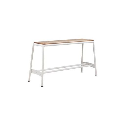 Hunston Metal High Bench with Timber Seat - White