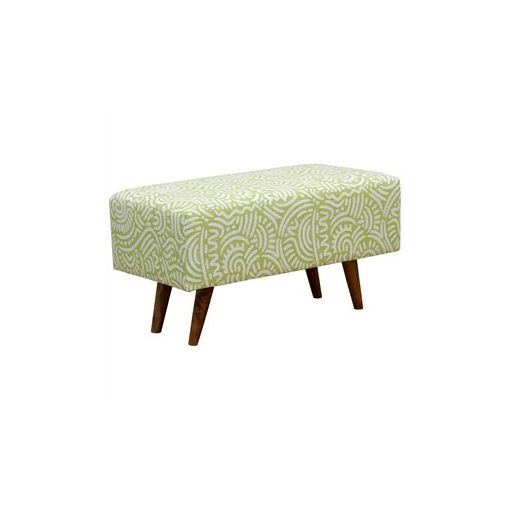 Felicia Fabric Upholstered Mahogany Timber Rectangular Ottoman - Green