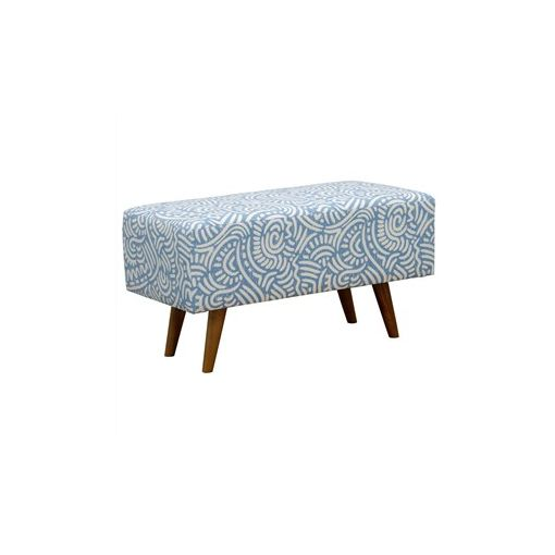 Felicia Fabric Upholstered Mahogany Timber Rectangular Ottoman - Blue