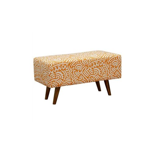 Felicia Fabric Upholstered Mahogany Timber Rectangular Ottoman - Orange