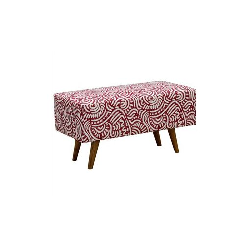 Felicia Fabric Upholstered Mahogany Timber Rectangular Ottoman - Red