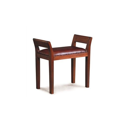 Dacey Solid Mahogany Timber Single Bench with Leather Seat - Mahogany