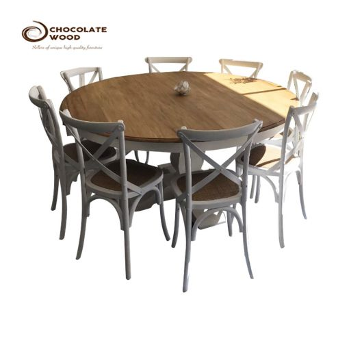 Sale Online Round Dining Table with 8x Vivid White Cross Back Chairs