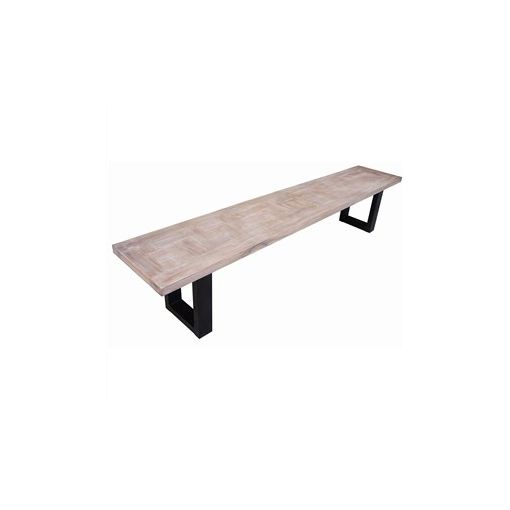 Fitzrovia Solid Teak Timber & Metal Parquetry Dining Bench, 220cm