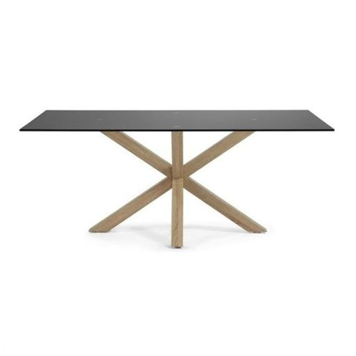 BROMLEY DINING TABLE - RECTANGULAR SHAPE - BLACK / NATURAL 180 cms.