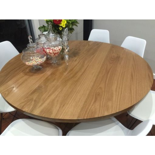 KELLY ROUND DINING TABLE SOLID TASSIE OAK - AUSTRALIAN MADE