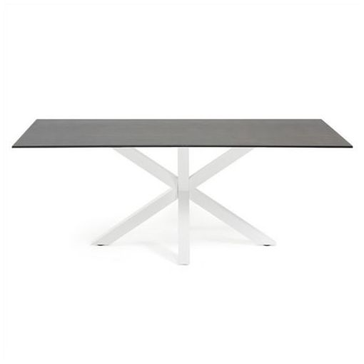 BROMLEY DINING TABLE - CERAMIC & GLASS - IRON MOSS / WHITE FINISH - 180CM