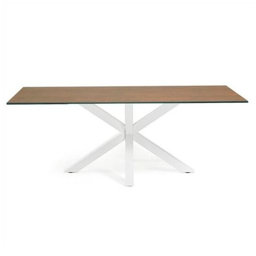 BROMLEY DINING TABLE - CERAMIC & GLASS - IRON CORTEN / WHITE FINISH - 180CM