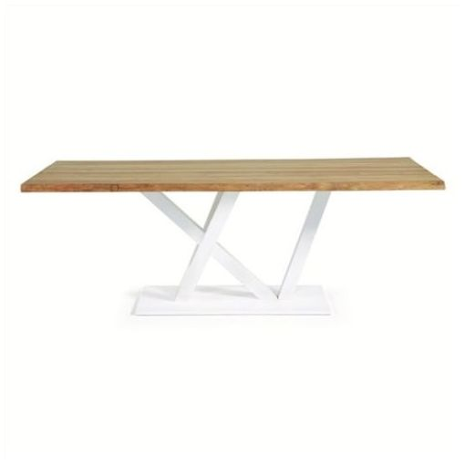 POPPY DINING TABLE - SOLID OAK TIMBER TOP - NATURAL/WHITE - 220 CMS.