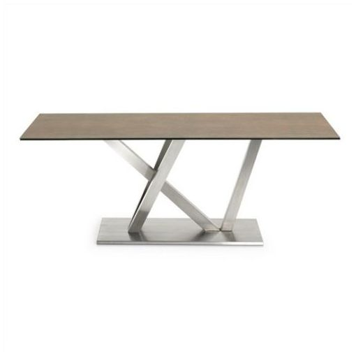 POPPY DINING TABLE - CERAMIC & GLASS TOP - IRON CORTEN/SILVER 200CMS