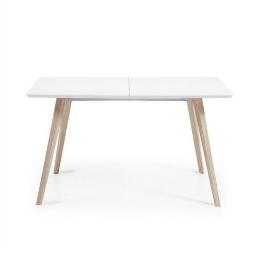 GAYLAN EXTENSION DINING TABLE - WHITE/ NATURAL 140 - 220 CM