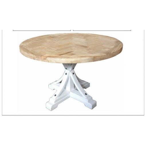 MONIQUE FRENCH PROVINCIAL SOLID OAK ROUND DINING TABLE