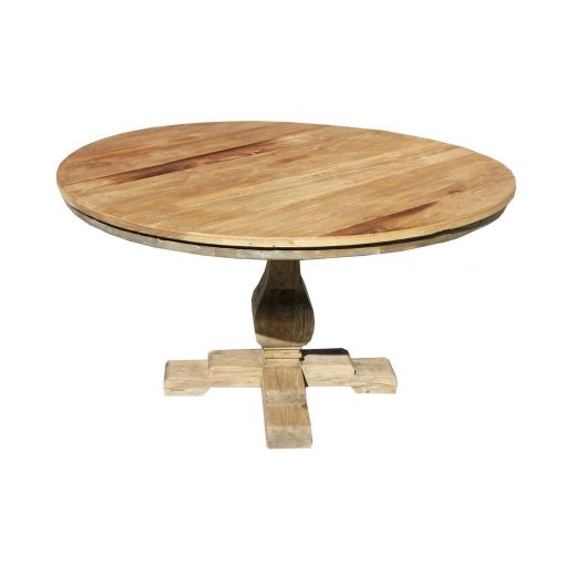 BORDEAUX RECLAIMED ELM WOOD ROUND DINING TABLE - 140 x 140 x 78 CM.