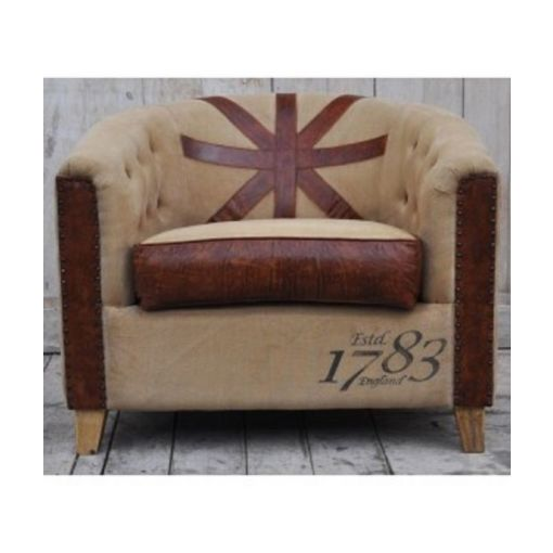 JACLYN CLASSIC LARGE ARMCHAIR - RECYCLED CANVAS & LEATHER DESIGNER CHAIR