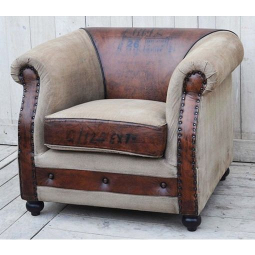 The Winston - vintage armchair - covered in leather & recycled canvas