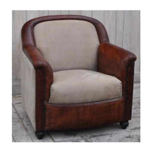 SANDRELLA VINTAGE STYLE ARMCHAIR-INDUSTRIALLY INSPIRED LEATHER/RECYCLED CANVAS