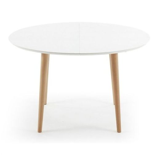 MILO EXTENSION OVAL DINING TABLE - WHITE / NATURAL - 120 - 200cm