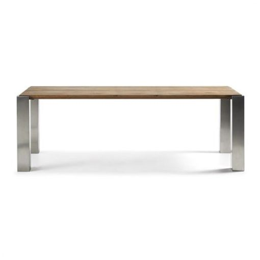 WALLIS STAINLESS STEEL & SOLID OAK TIMBER DINING TABLE - 220 CM