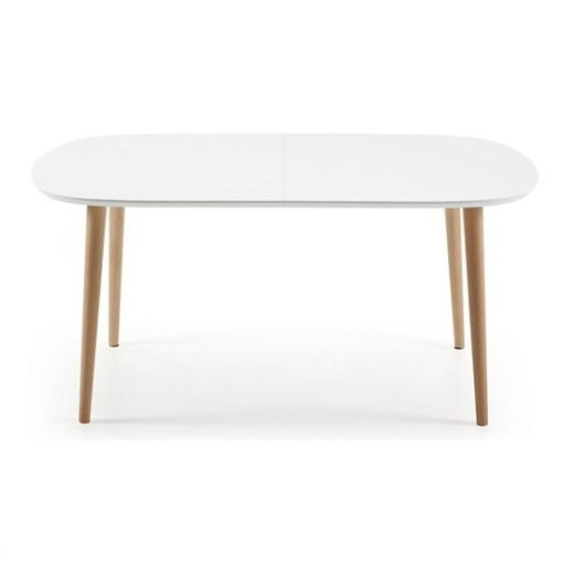 MILO EXTENSION OVAL DINING TABLE - WHITE / NATURAL - 160 - 260cm