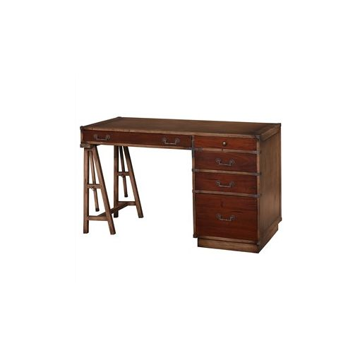 Mourton Solid Mahogany Timber Suveyors Desk - Teak Brown