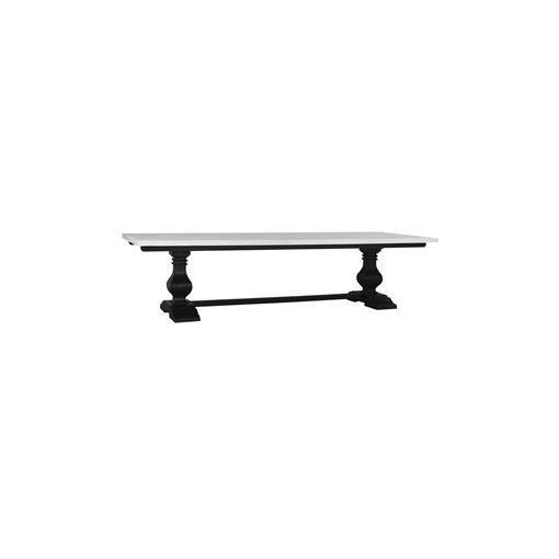Calverton Solid Mahogany Timber Dining Table, 180cm, Black Harvest / Architectural White