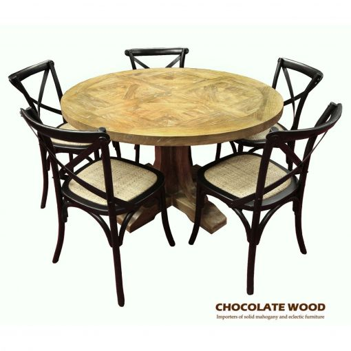 VALENTINA ( D 120cm ) Stunning Solid oak round dining table with pedestal + 5 black cross back dining chairs