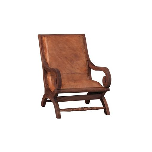 Debby Leather and Mahogany Timber Lazy Chair