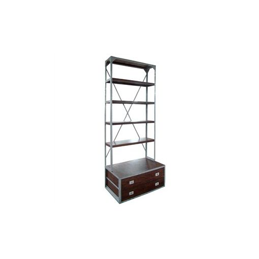 Barnston Solid Timber & Metal Bookcase with 2 Drawers