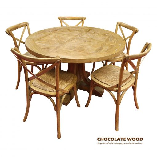 VALENTINA Stunning Solid oak round dining table with pedestal + 5 natural cross back dining chairs - 120cm