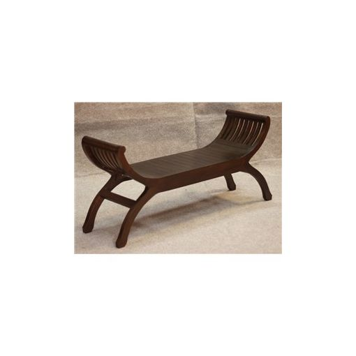 Liam Solid Mahogany Timber Double Seater Stool - Chocolate