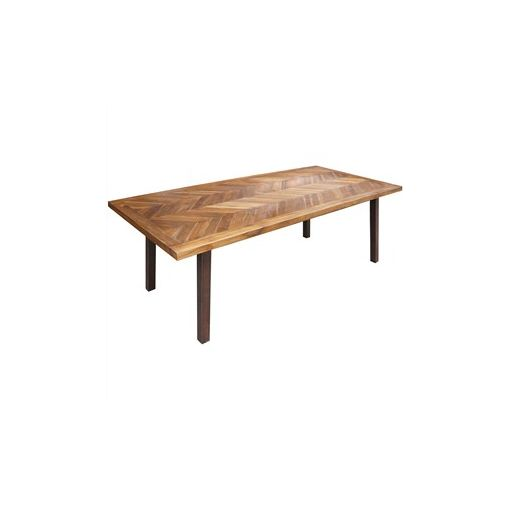 Lymington Solid Teak Timber and Metal Dining Table, 220cm
