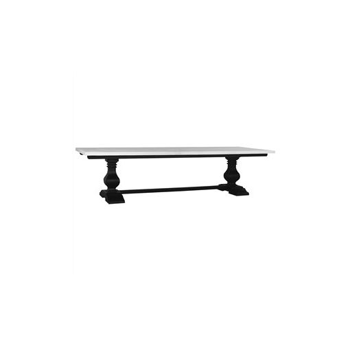 Calverton Solid Mahogany Timber Dining Table, 244cm, Black Harvest / Architectural White