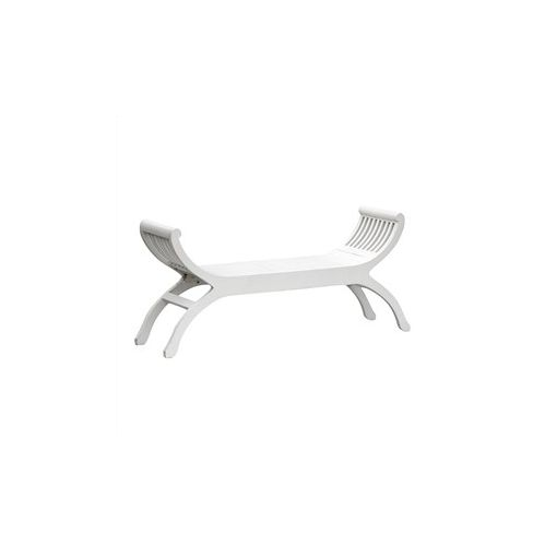 Liam Solid Mahogany Timber Double Seater Stool - White