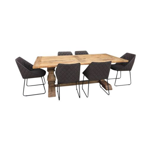 dining table  with 6 brown  chairs