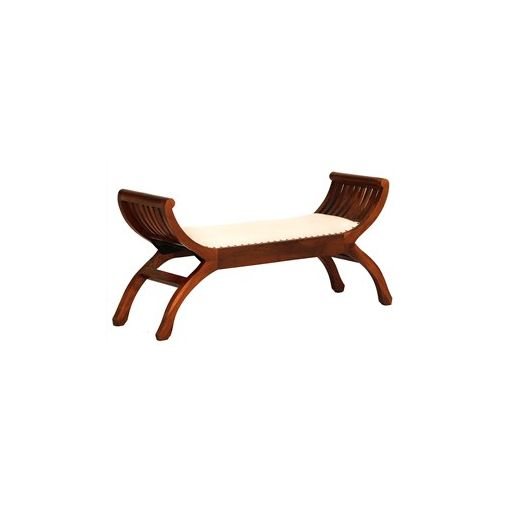 Liam Solid Mahogany Timber Double Seater Stool with Cushion Seat - Light Pecan