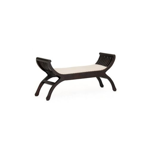 Liam Solid Mahogany Timber Double Seater Stool with Cushion Seat - Chocolate