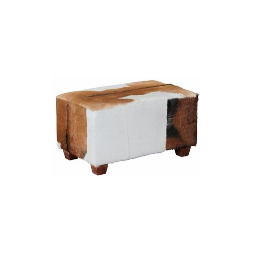 Rhyno Goat Hide Upholstered Mahogany Timber Ottoman - Small