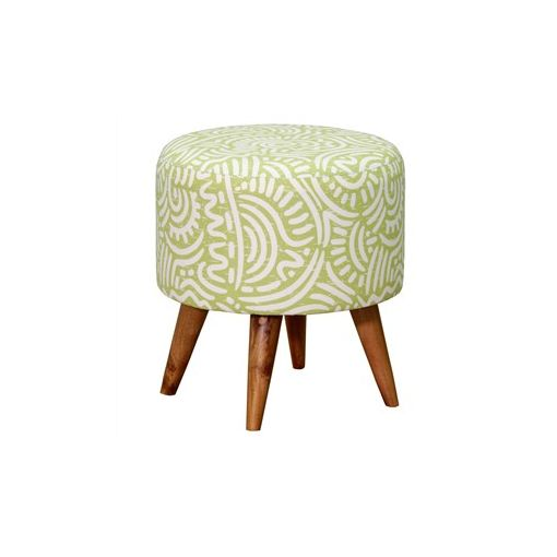 Felicia Fabric Upholstered Mahogany Timber Round Ottoman - Green