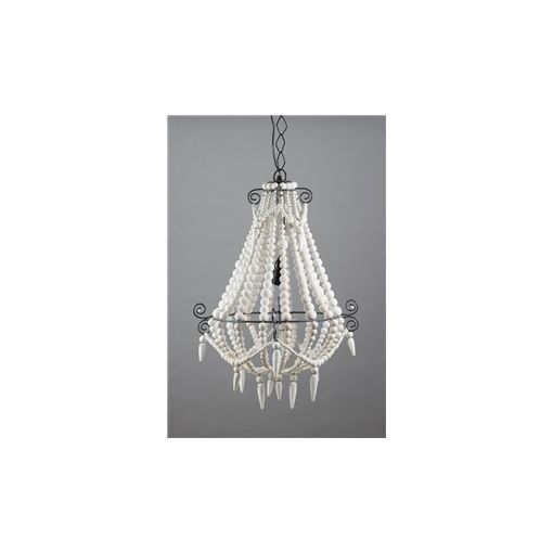 Palmira Small Wooden Beaded Chandelier - White