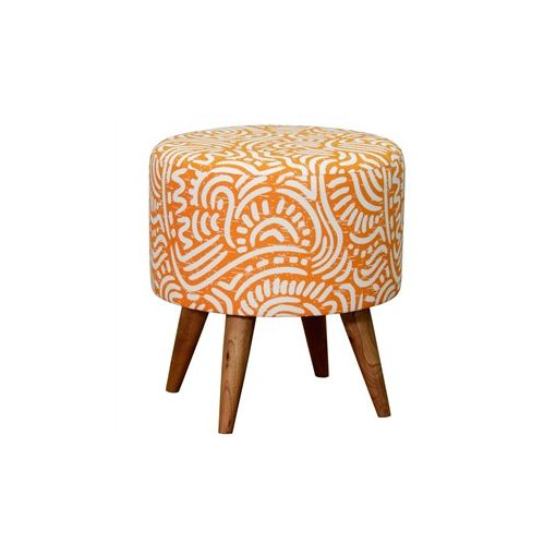 Felicia Fabric Upholstered Mahogany Timber Round Ottoman - Orange
