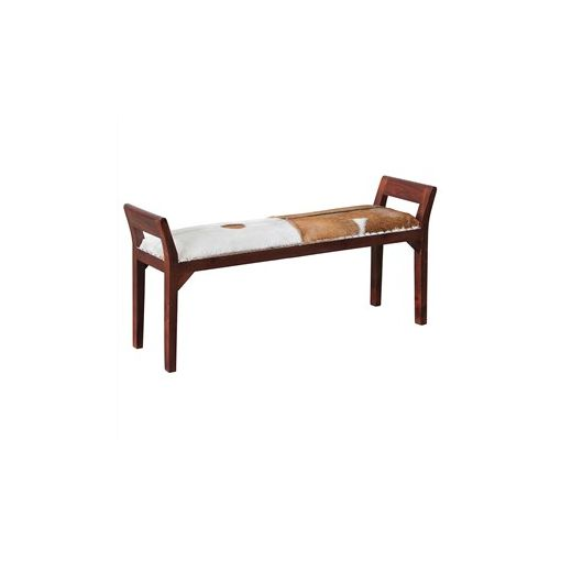Dacey Solid Mahogany Timber Double Bench with Goat Hide Seat - Mahogany