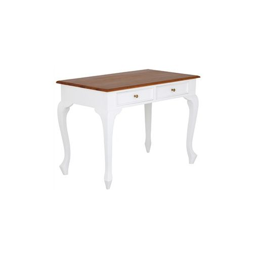 Queen Ann Solid Mahogany Timber 2 Drawer Desk - White/Caramel