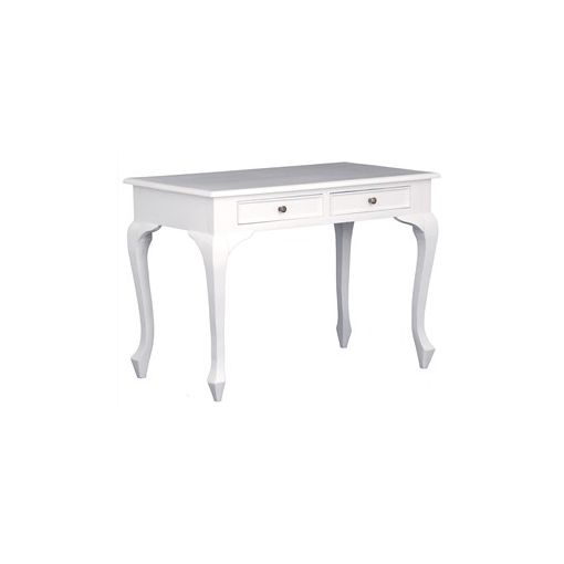 Queen Ann Solid Mahogany Timber 2 Drawer Desk - White