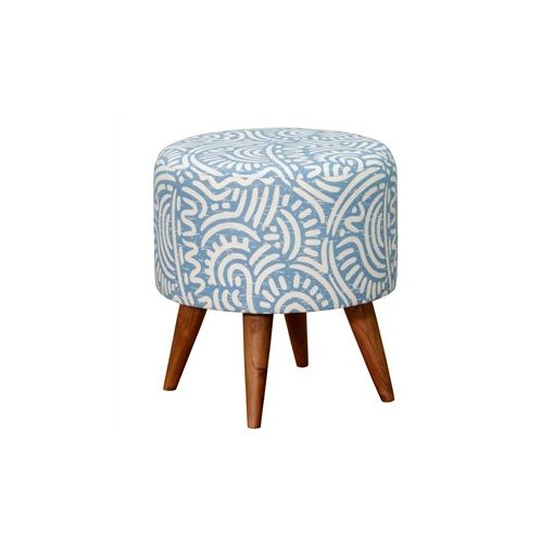 Felicia Fabric Upholstered Mahogany Timber Round Ottoman - Blue