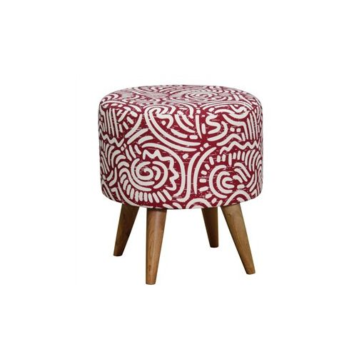 Felicia Fabric Upholstered Mahogany Timber Round Ottoman - Red