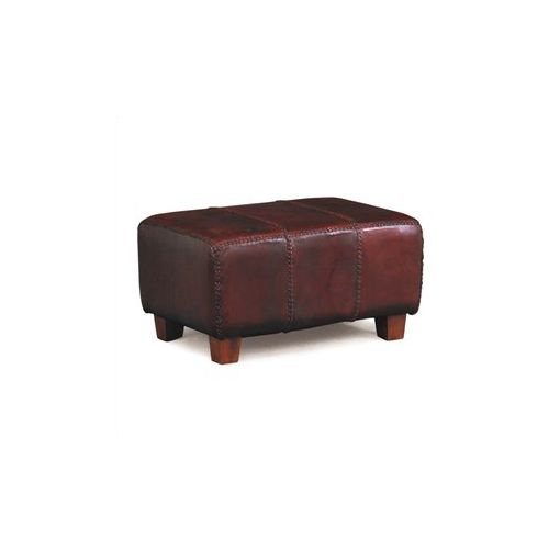 Rhyno Leather Upholstered Mahogany Timber Ottoman - Small