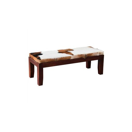 Ardmore Solid Mahogany Timber Double Bench with Goat Hide Seat