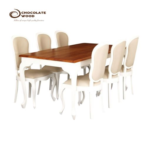 Cheap Online Timber Mahogany Dining Table with 6 Chairs