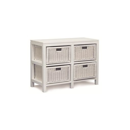 Four-Drawer Solid Mahogany Rattan Buffet - White