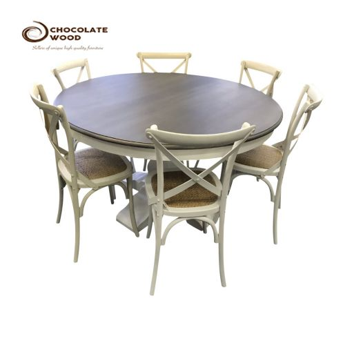 SALE Online Dining Table in Smokey Grey with 6x Cross Back Chairs